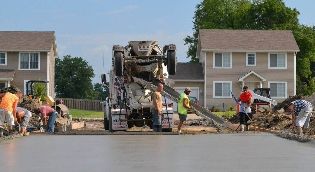 A construction crew pouring Liberty Ready Mix concrete for a residential project in the Des Moines area.
